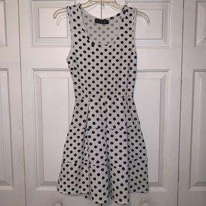 Dresses & Skirts - White and navy polka dot dress